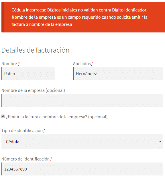 Woo Datil - Validación datos facturación